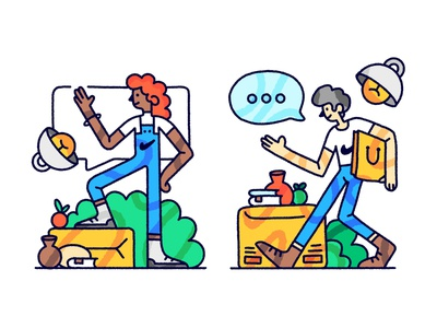Couriers Illustration web graphics onboarding woman man humans people delivery messanger courier illustration
