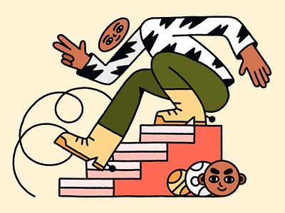 Weird Guy web illustration weird illustration african black man man geometric ladder people illustration