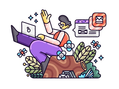 Working Remotely remote remote work laptop plants stump man illustration outdoors working