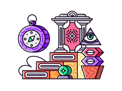 Geometric illustration web graphics editorial abstract illustration crystal compass outline illustration portal ladder geometric illustration