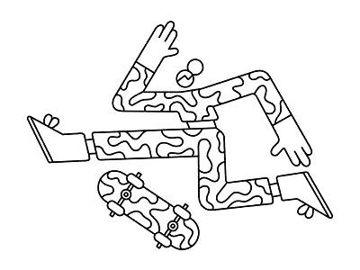 Skateboarder pattern homan man people geometric editorial sport skateboarder illustration