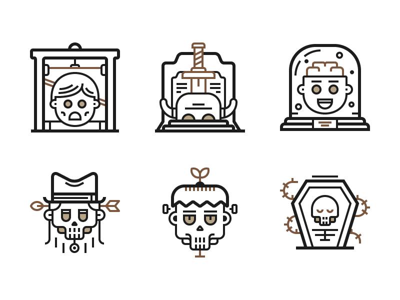Death Icons (Freebie) free flat line ai freebie illustration icons