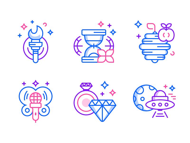 Idea Icons (Freebie) freebie ai free microphone hive fire ufo diamond time line flat icons