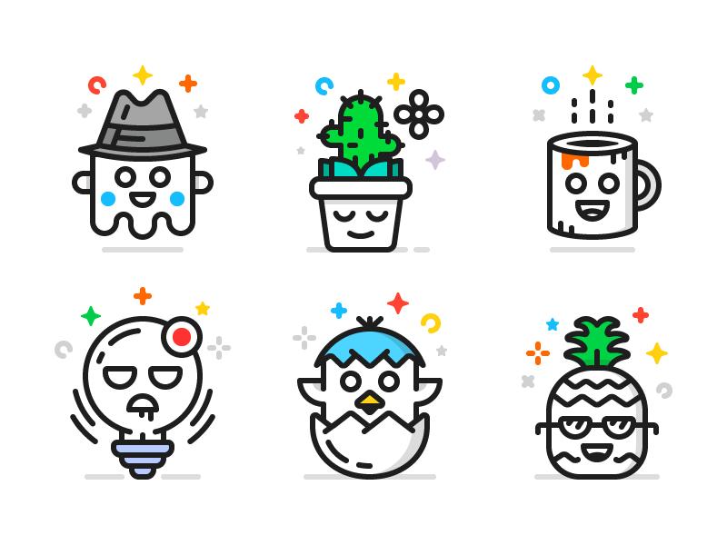 Character Icons (Freebie) coffe cactus bulb pineapple egg ghost flat free line freebie icons ai