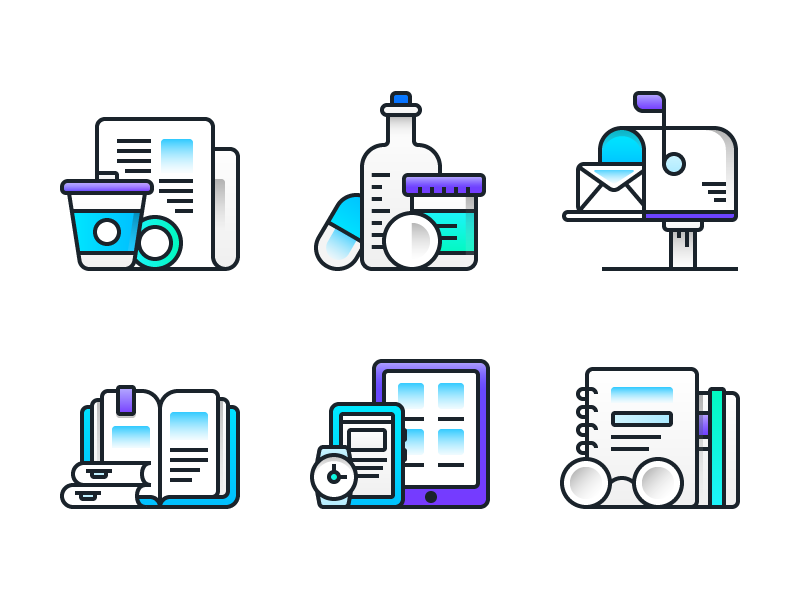 Icon Style V1 notebook devices books postboox medicines news flat line icons