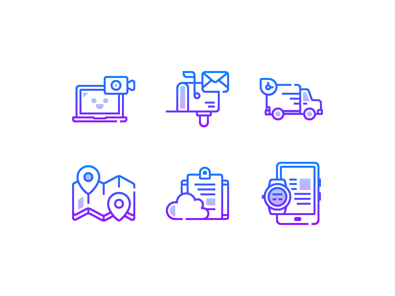 Gradient Icons devices cloud map shipping postbox videocall flat line icons