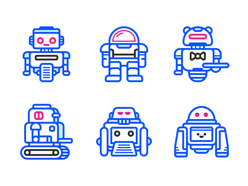 Robots Icons flat android droid robot line illustration icon