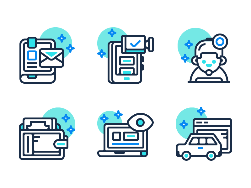 Webby Icons video chat wallet user laptop car book illustration line flat icons