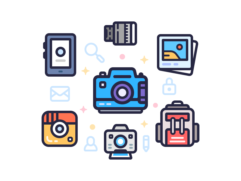 Photo Style smartphone lens photos backpack intagram camera illustration icons