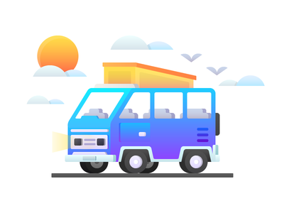 Van illustrations gradient car van flat illustration icon