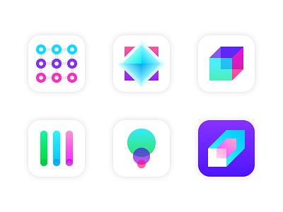 Geometric App Icons grid geometric launch gradient flat icon app