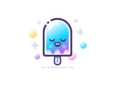 Candy Ice Cream gradient cute emoji flat ice cream icon illustration