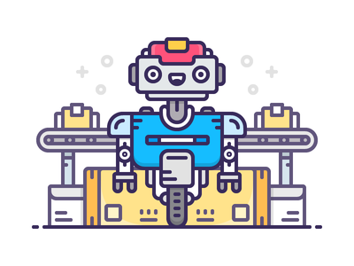 Delivery Droid post office icon shop shipping delivery robot android illustration