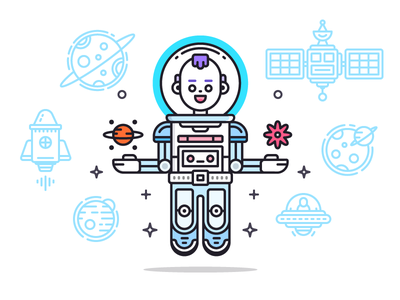 Space Man articlem cover editorial blog planet icon astronaut cosmos space illustration