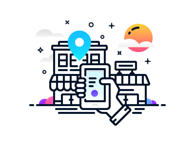 Book Hotel location smartphone house planing vacation booking hotel book line icon illustration