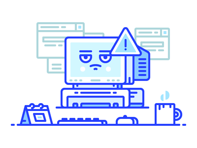 Overloaded Pc work desk computer article cover blog overload pc icon illustration