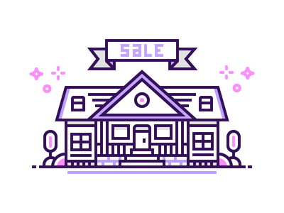 Sell House architecture yard real estate sale home house illustration