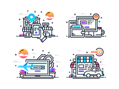 Gradient Illos 1 oboarding e-commerce booking car rent icons payment hotel store laptop illustration