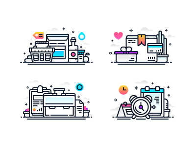 Line Gradient Illos 2 onboarding schedulem iconm gradient tome case business package shop illustration