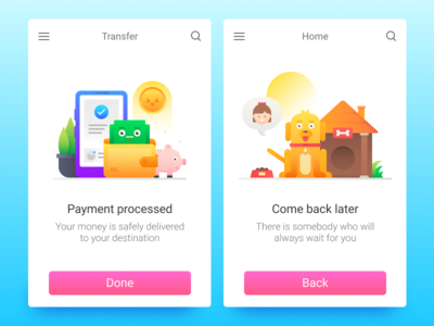 Fun Illustrations For Icons8 wallet home come back payment screen characters icons onboarding ui illustration flat