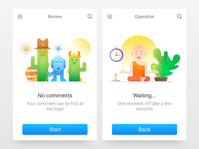 Interface Illustrations For Icons8 free waiting comments meditation monk onboarding ui icon illustration flat