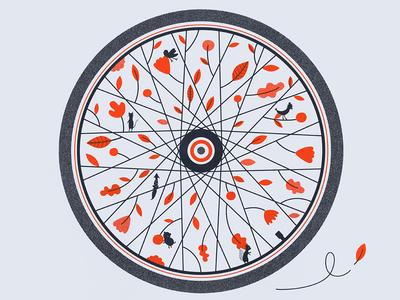 Screen Print for Denver Art Crank screen print silkscreen illustration vector illustrator handmade bike wheel forest