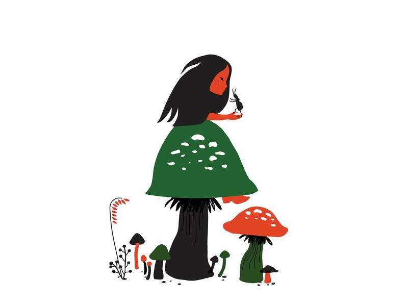 Mushroom Gatherer design illustrator illustration