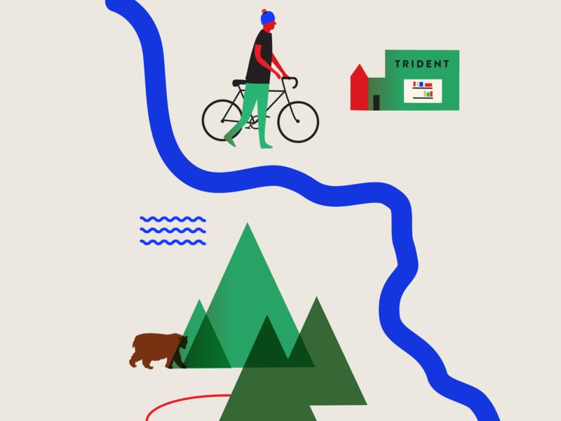 Spoke Lore Canyon web nature vector design illustrator book cover design bike forest animation ux ui icon app branding illustration