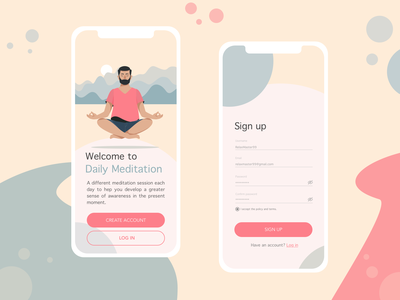 Daily UI #001 - Sign-up page sign up sign in colors meditation app meditation design art uxui ux design app ui dailyui