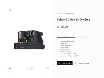 Daily UI #012-   E-Commerce Shop (Single Item) camera 012 ecommerce design ecommerce polaroid retro uiux design uxui ux ui design art design app dailyui