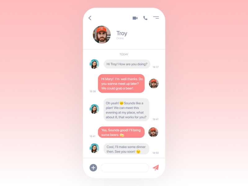 Daily UI Challenge - Day 13 Direct Messaging message app messages message meetup friends chat app chatapp chat 013 uiux dailyuichallenge design uxui colors ux design art ui design app dailyui