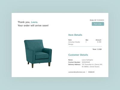 Daily UI #017-  Email Receipt email receipt green armchair furniture store furniture uiux dailyuichallenge design uxui colors ux design art ui design app dailyui 017