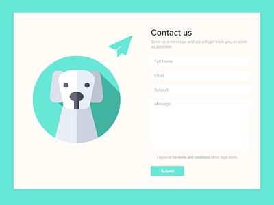 Daily UI #028 - Contact Us help ong shelter dog animals animalshelter dailyuichallenge uxui colors ux design art ui dailyui design app design contact us 028