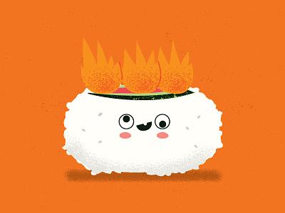 Sushi On fire japanese japaneserestaurant texture characterdesign drawing illustration tempura soup sushilover sushi food