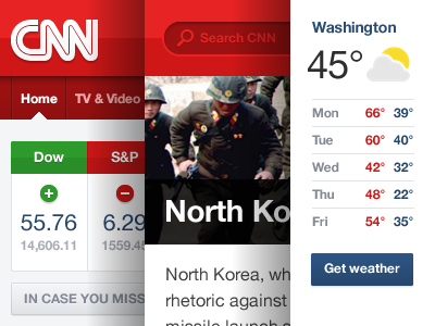 Unauthorized CNN Refresh red news cnn stocks weather headline