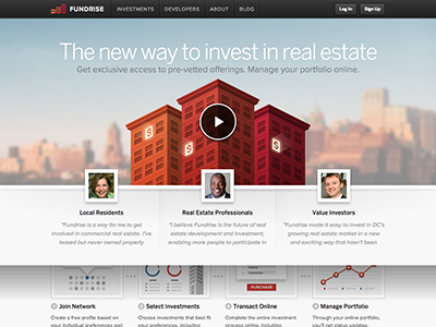 New Fundrise Homepage homepage red orange maroon city crowdfunding real estate investing