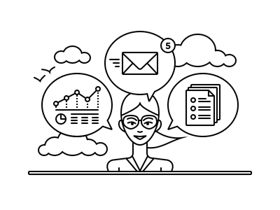 Cloud Tools analytics document email birds clouds glasses girl illustration line art