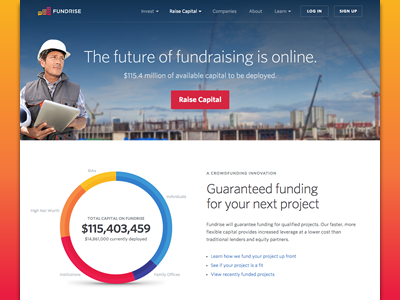 Raise Capital Landing Page crowdfunding real estate finance landing page red orange yellow construction