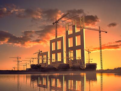 Building the Fundrise Logo cranes construction logo sunrise