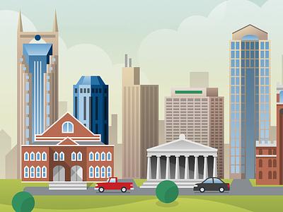 Nashville black car red truck buildings city illustration