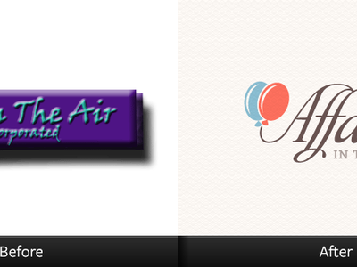 Affairs In The Air logo affair balloons museo slab blue peach