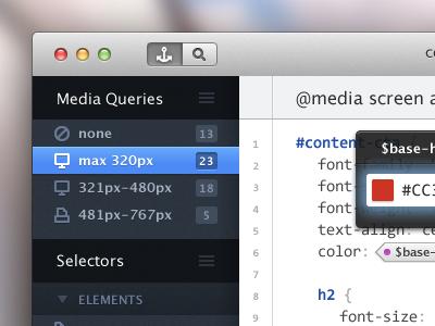 (S)CSS Editor mac app ui lucida grande consolas sass scss responsive