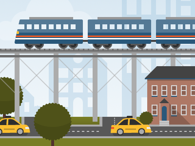 Cityscape illustration flat bright vector city taxi trains