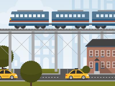 Cityscape illustration flat bright vector city taxi trains