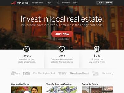 New Fundrise Homepage proxima nova responsive benton sans homepage red