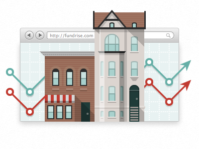 Fundrise Homepage Graphic urban local investing buildings real estate teal city red turquoise crowfunding