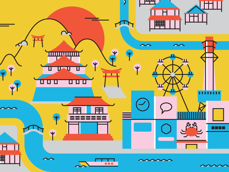 Ohayo infographics artdirection illustration cityscape tokyo kyoto country cities city landscape graphicdesign zen mountains japanese crab temple castle japan osaka