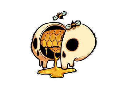 Hivemind sticker design sticker skull bee digital illustration digital spot illustration spot raster illustration