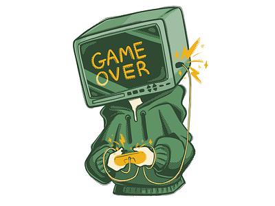 Game Over promotional promo digital raster spot illustration spot character design character art character illustration illustration