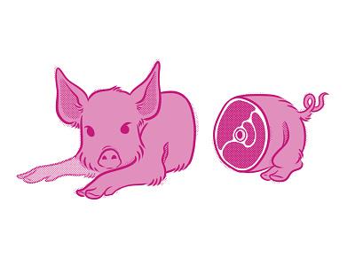 Chophouse pink pig limited colour palette limited palette sticker design sticker spot illustration spot digital illustration digital raster illustration